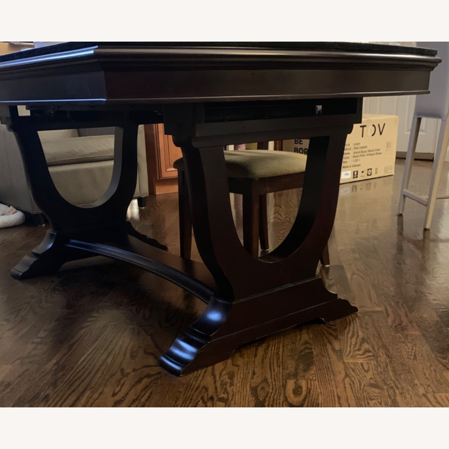 Raymour & Flanigan Dark Brown Dining Table with Leaves - image-2