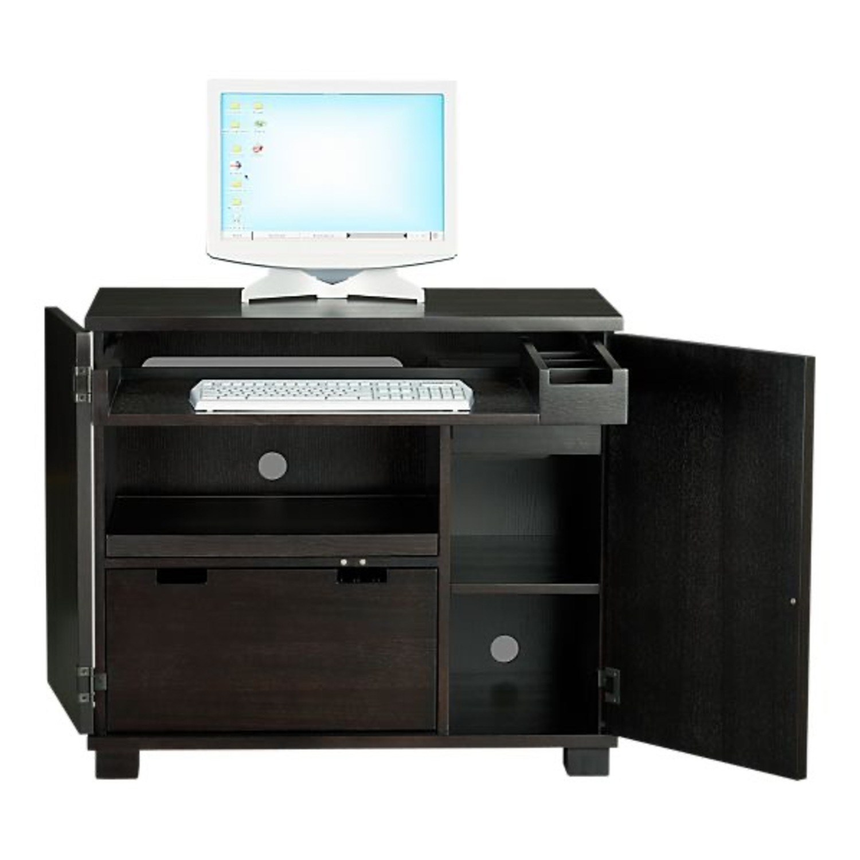 Crate & Barrel Ebony Wood Compact Office - image-0