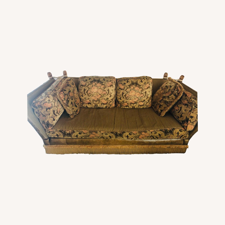 Vintage Paisley Wing Arm Sofa - image-0