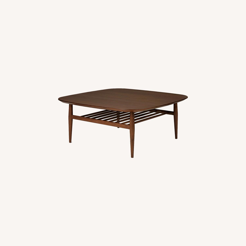 Article Walnut Lenia Square Oak Coffee Table - image-0
