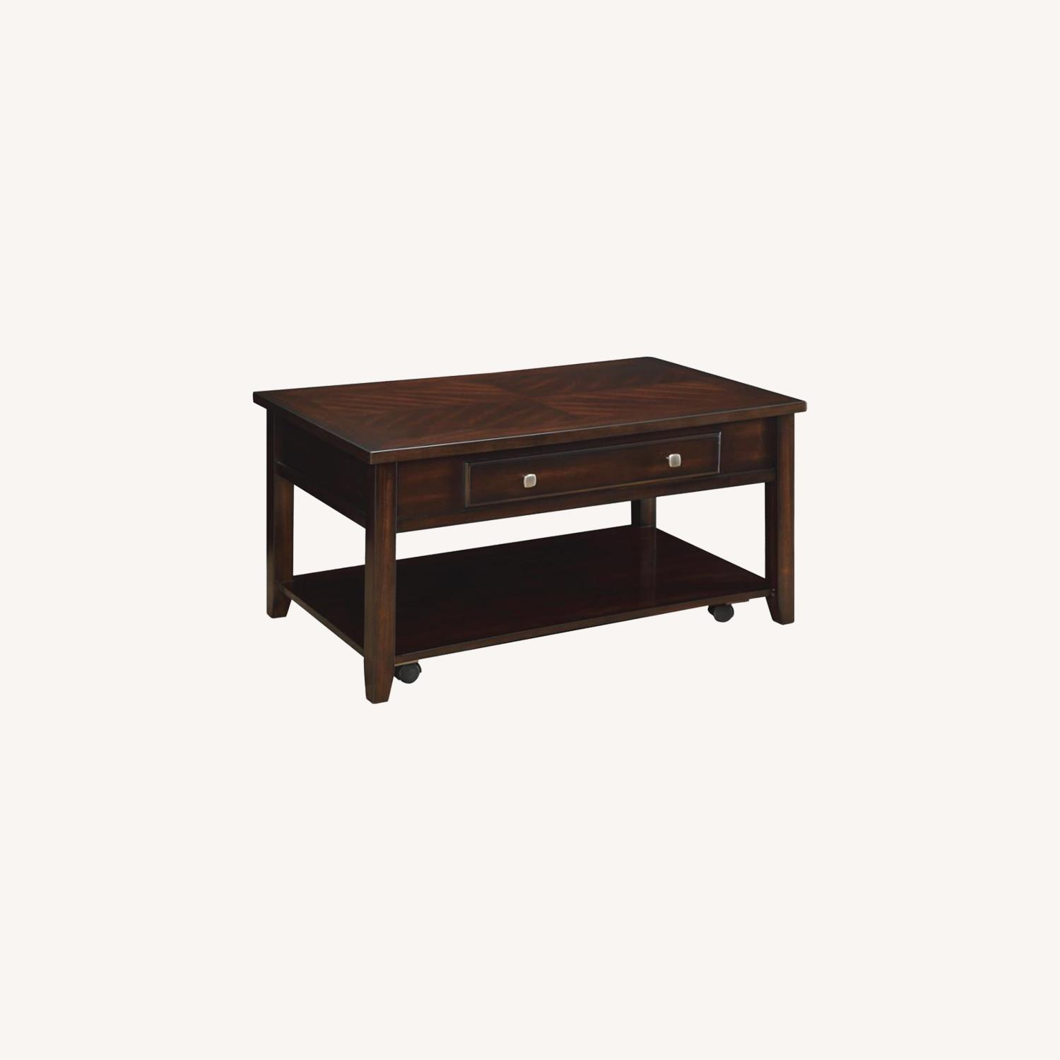 Lift Top Coffee Table In Walnut Finish W/ Shelves - image-5