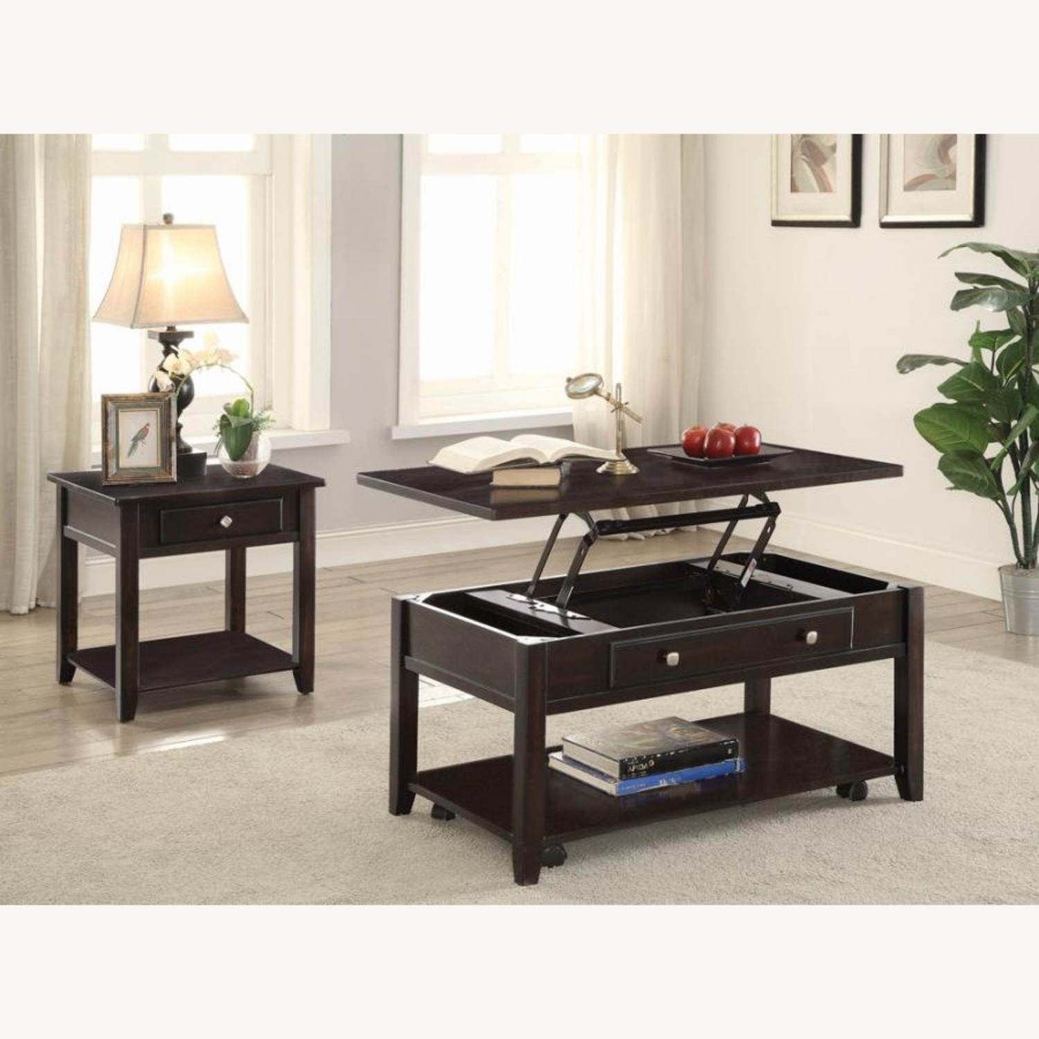 Lift Top Coffee Table In Walnut Finish W/ Shelves - image-4