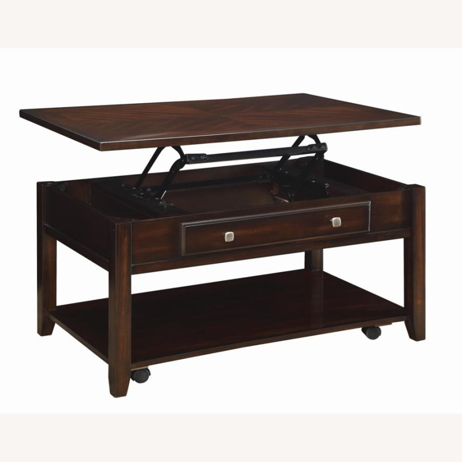 Lift Top Coffee Table In Walnut Finish W/ Shelves - image-1