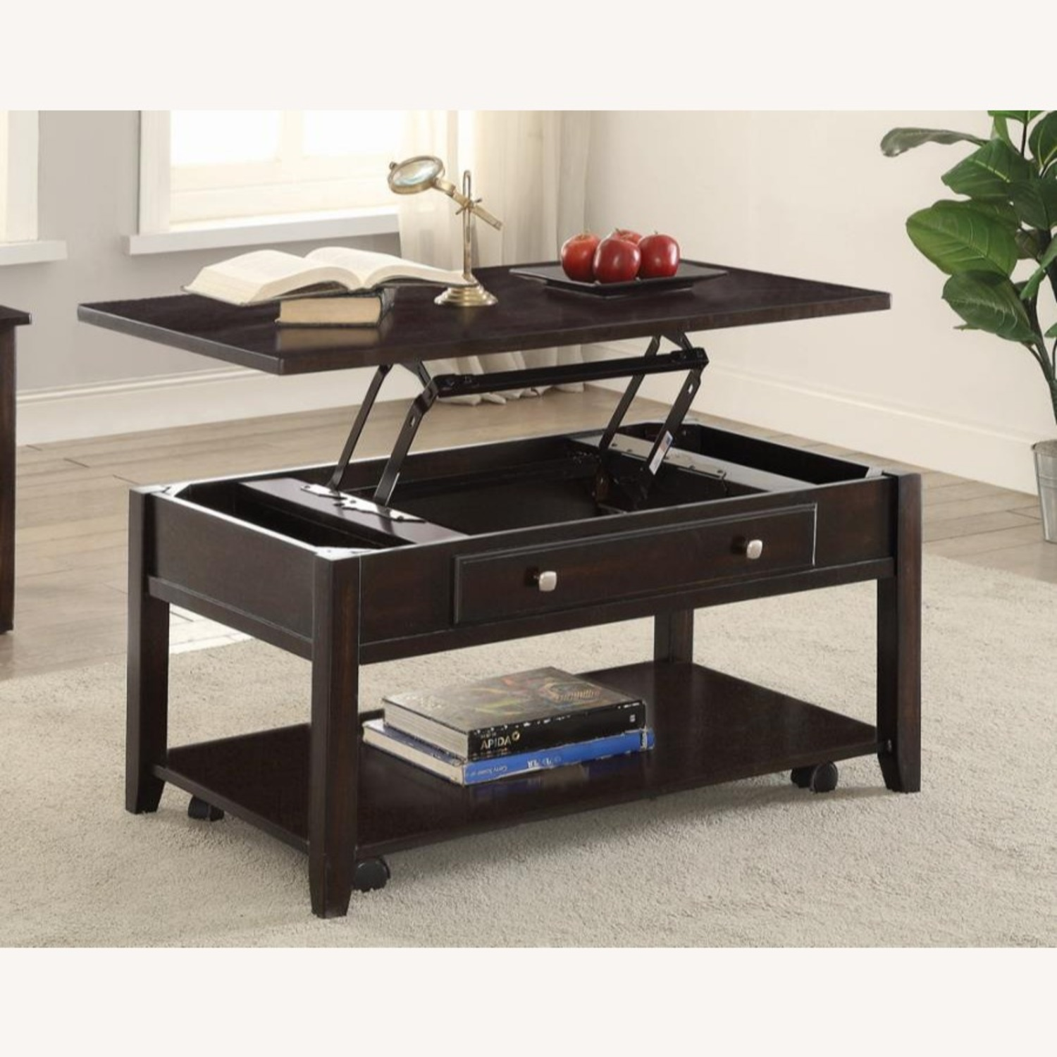 Lift Top Coffee Table In Walnut Finish W/ Shelves - image-3