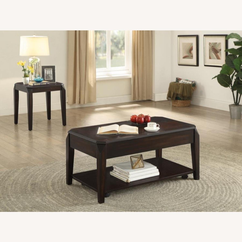 Modern End Table In Walnut Finish W/ Lower Shelf - image-3