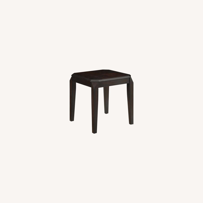Modern End Table In Walnut Finish W/ Lower Shelf - image-4
