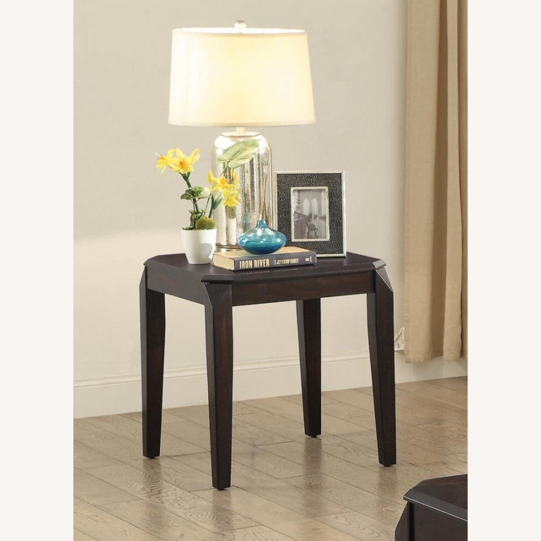 Modern End Table In Walnut Finish W/ Lower Shelf - image-1