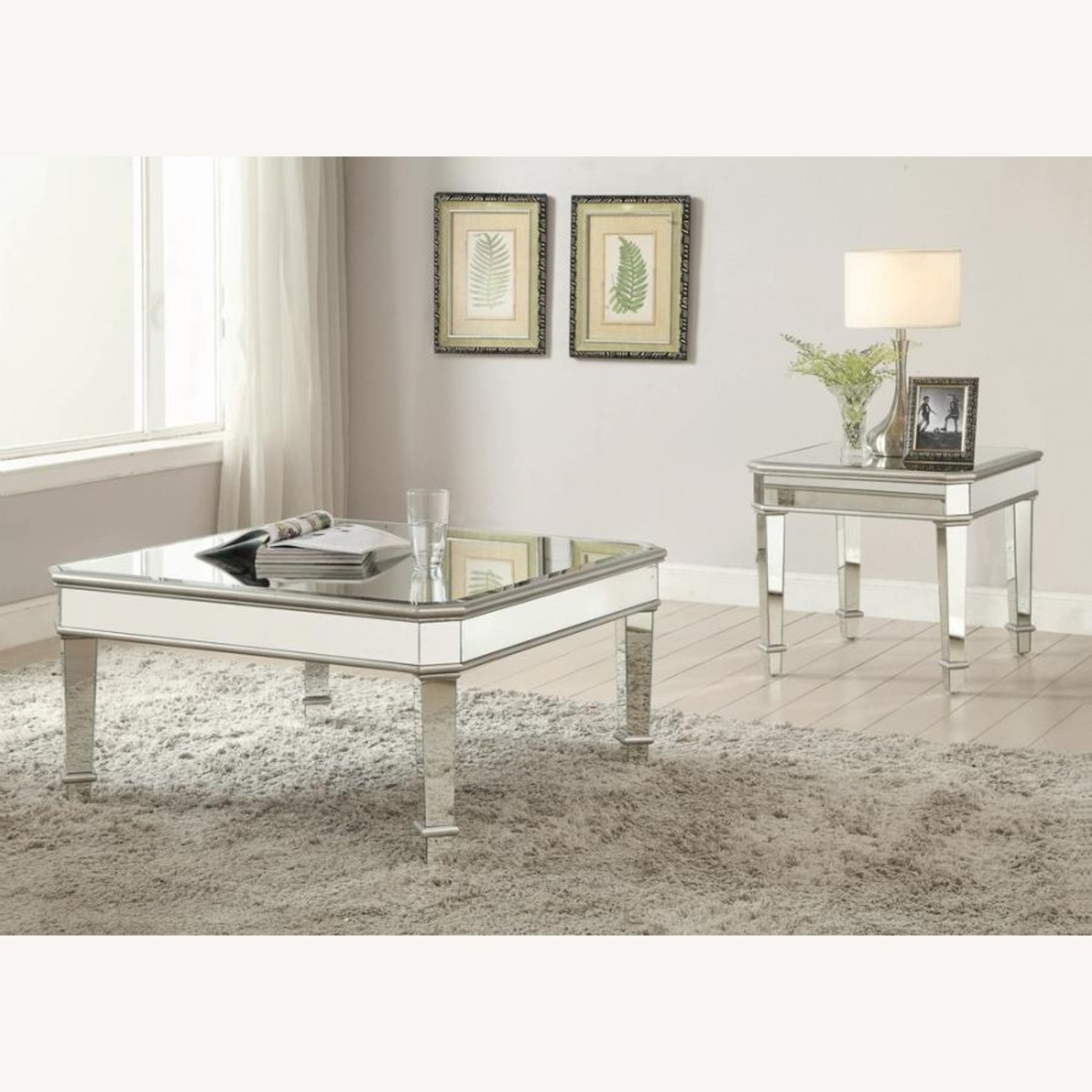 Coffee Table In Silver W/ Mirror Lined Surfaces - image-2