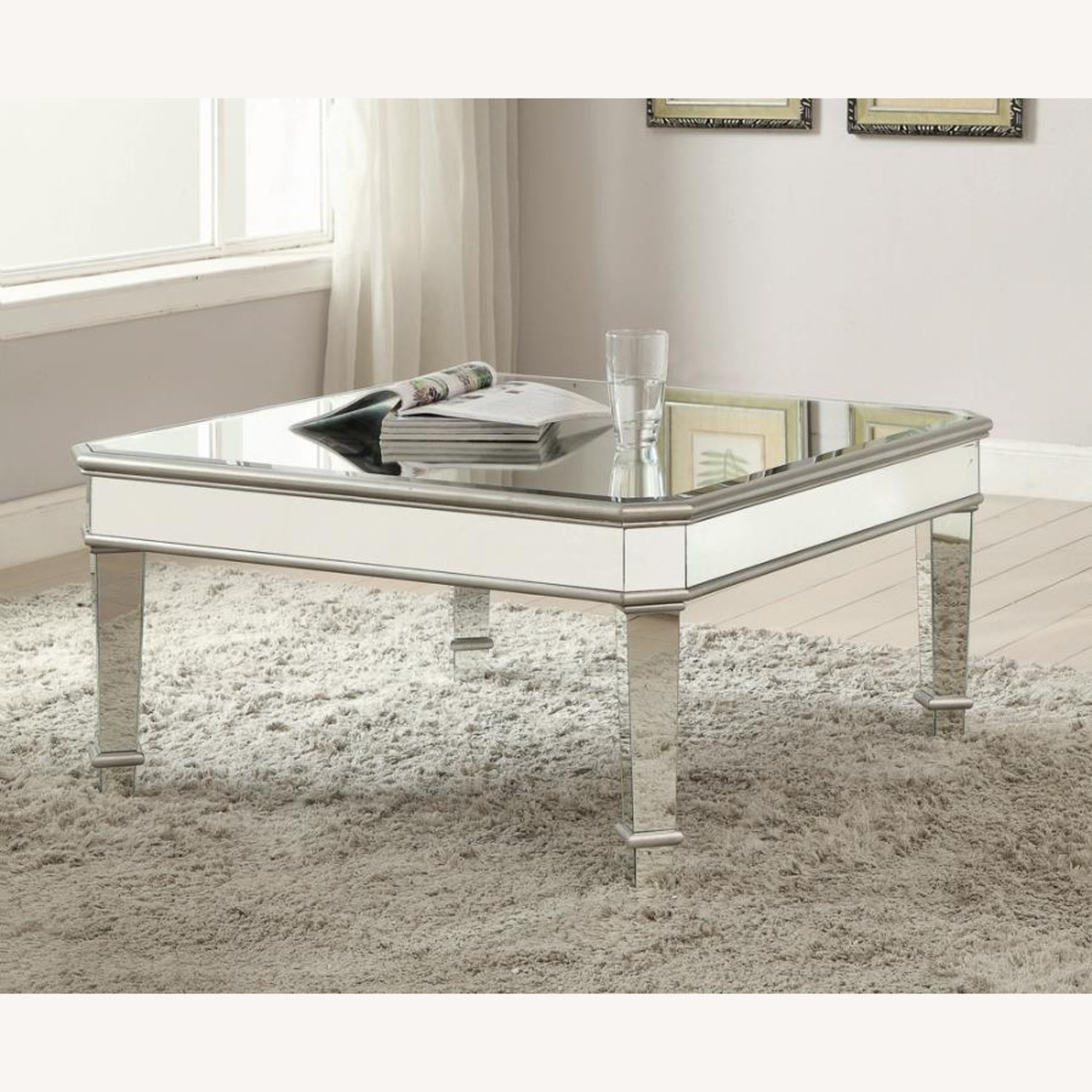 Coffee Table In Silver W/ Mirror Lined Surfaces - image-1