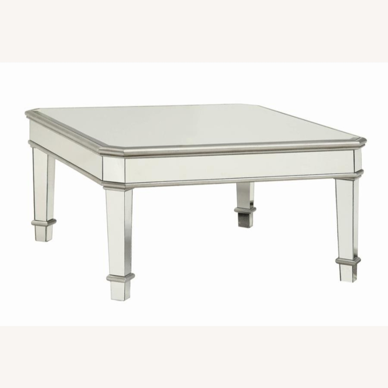 Coffee Table In Silver W/ Mirror Lined Surfaces - image-0