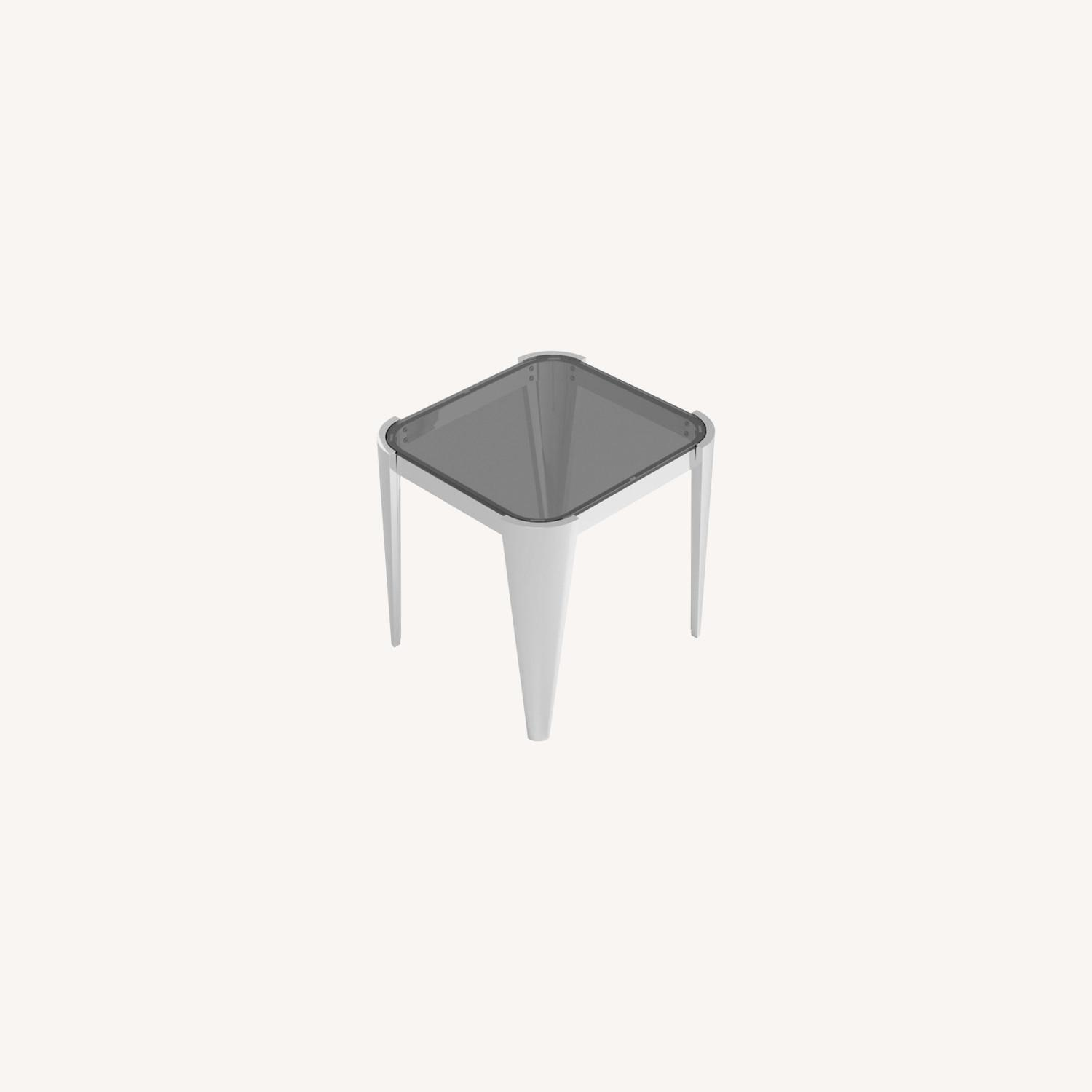 End Table In Silver W/ Grey Tempered Glass Top - image-4