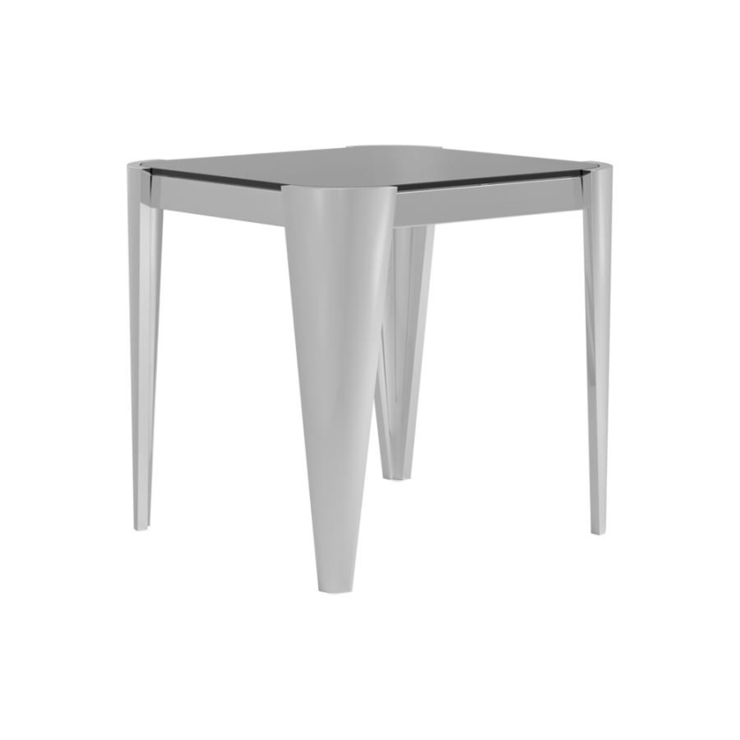 End Table In Silver W/ Grey Tempered Glass Top - image-1