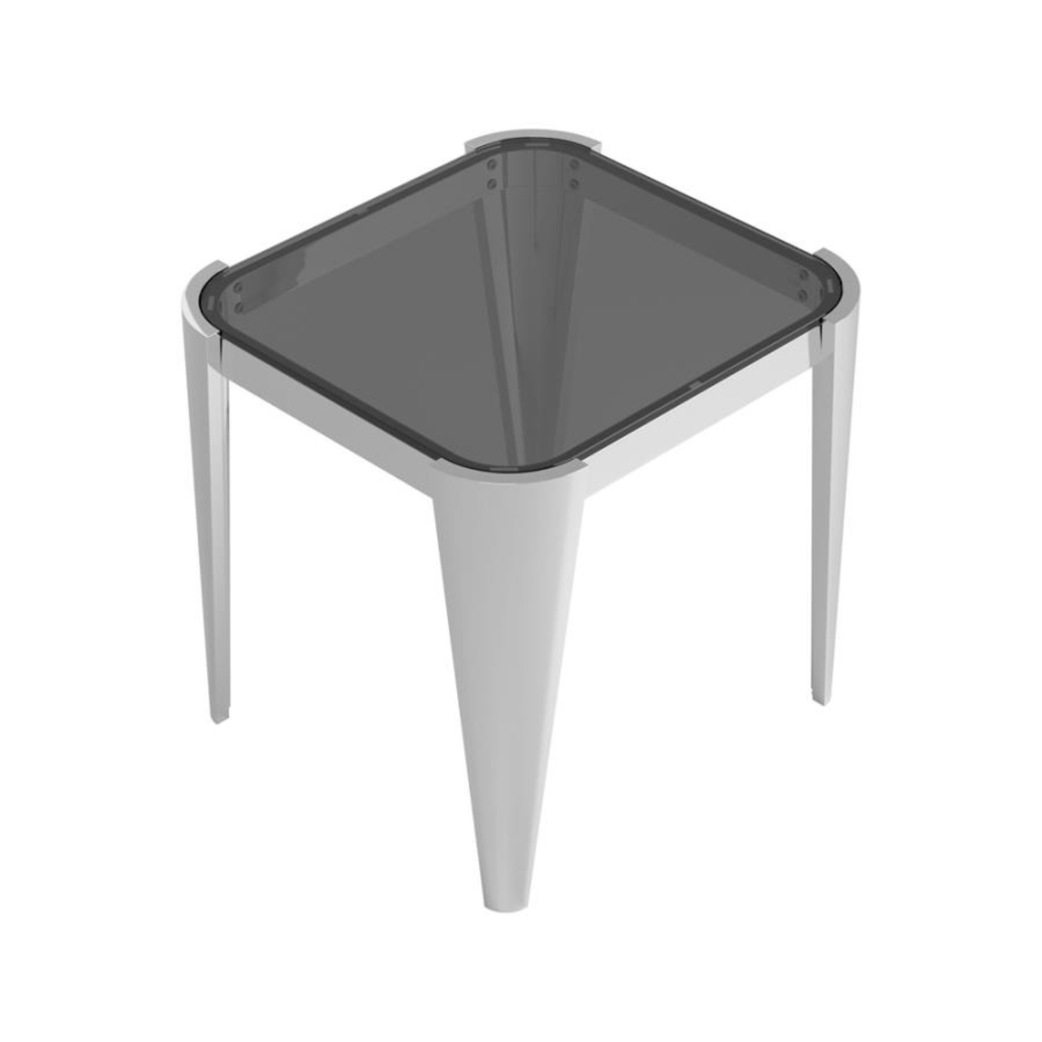 End Table In Silver W/ Grey Tempered Glass Top - image-0