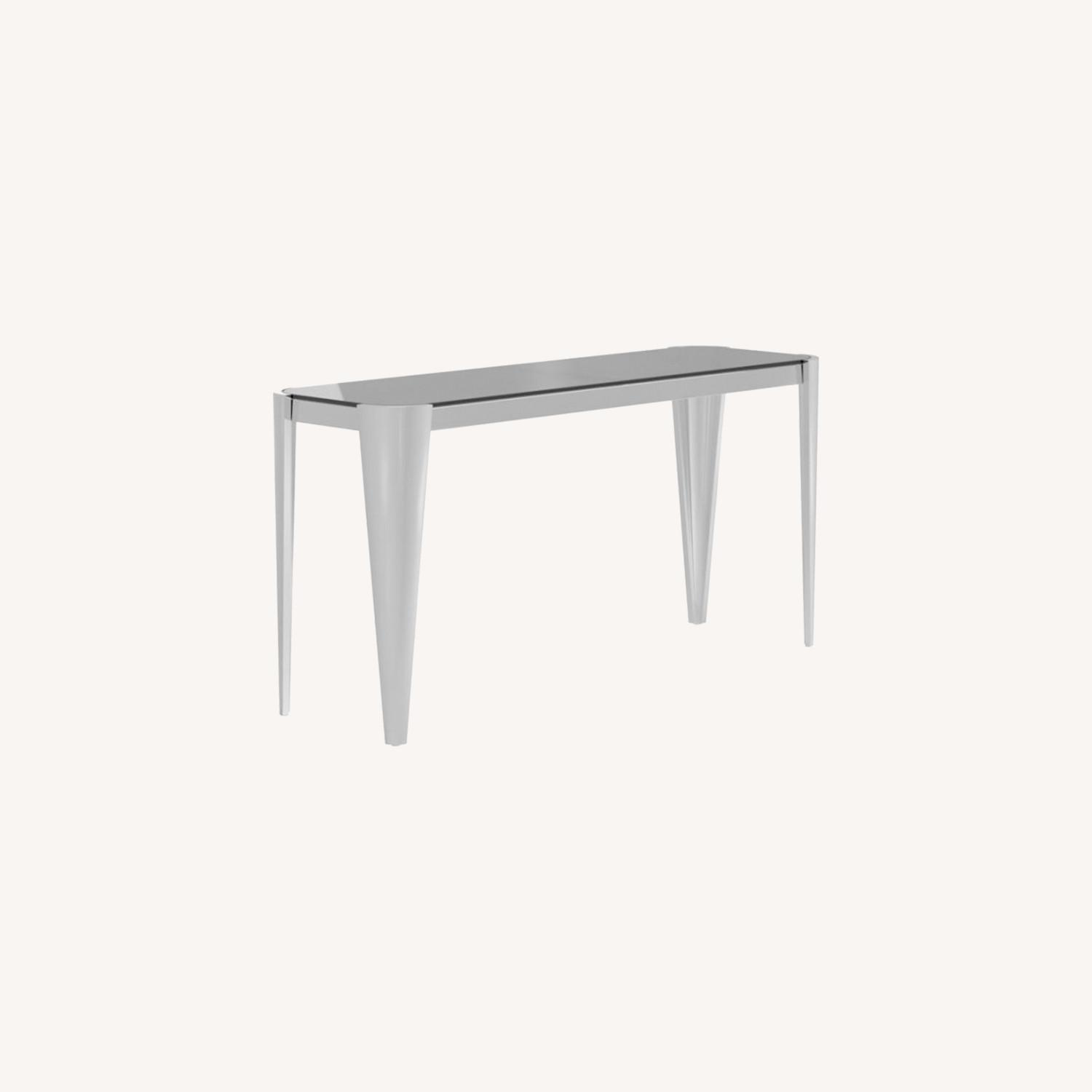 Sofa Table In Silver W/ Grey Tempered Glass Top - image-5