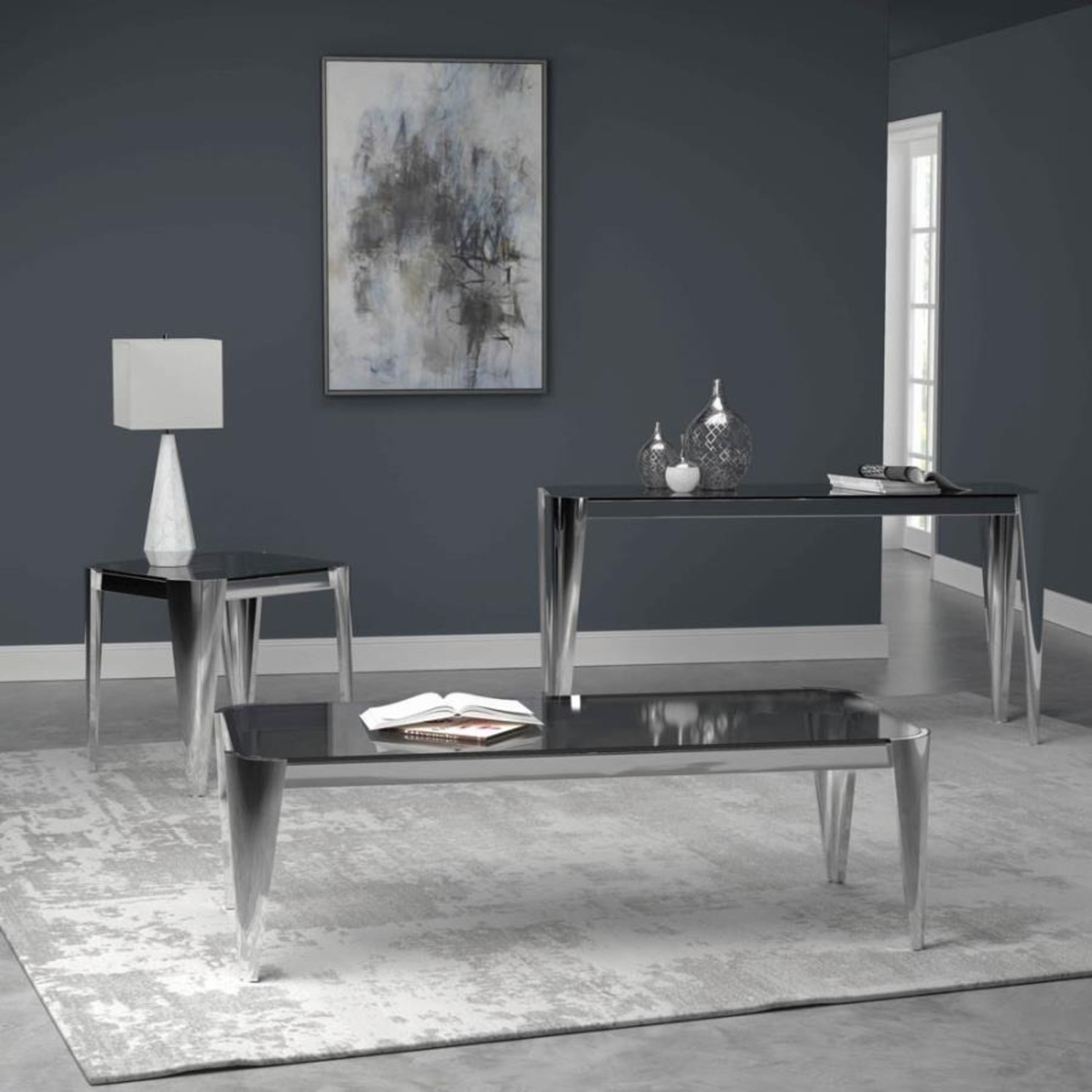 Sofa Table In Silver W/ Grey Tempered Glass Top - image-4