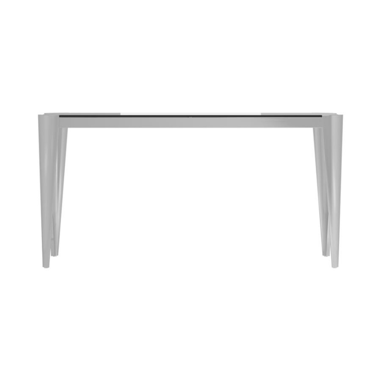 Sofa Table In Silver W/ Grey Tempered Glass Top - image-2