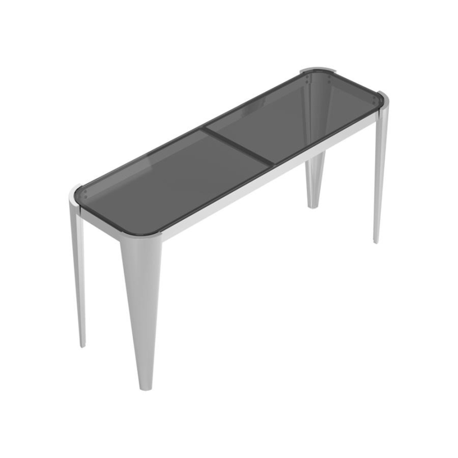 Sofa Table In Silver W/ Grey Tempered Glass Top - image-1