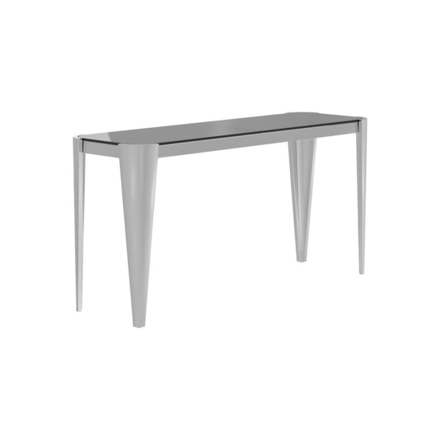 Sofa Table In Silver W/ Grey Tempered Glass Top - image-0