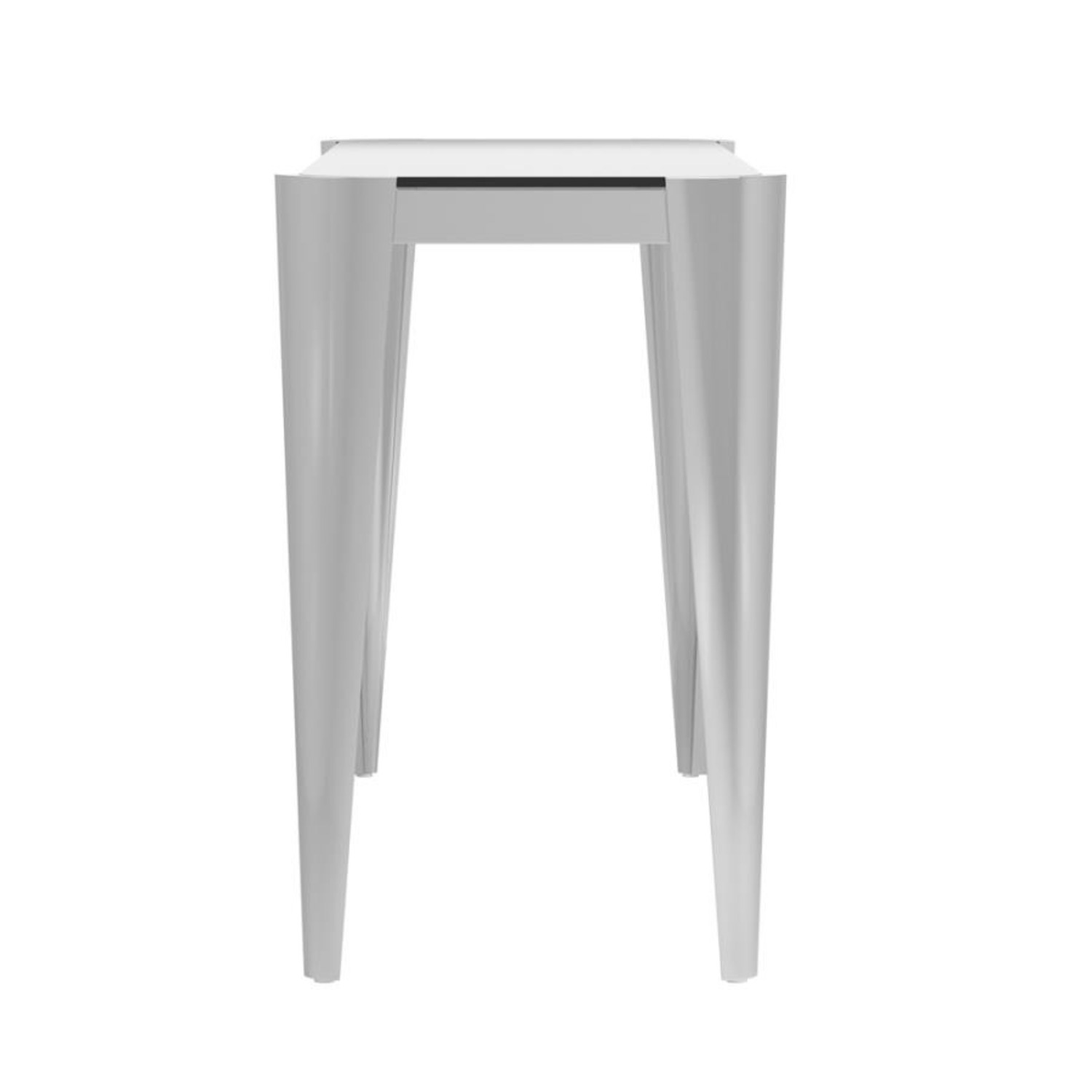 Sofa Table In Silver W/ Grey Tempered Glass Top - image-3