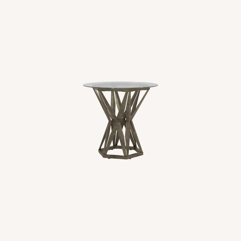 Modern End Table W/ Gold Hexagon Pedestal Base - image-5