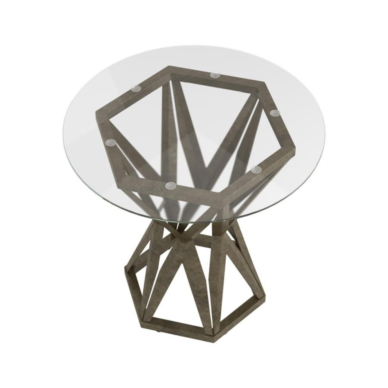 Modern End Table W/ Gold Hexagon Pedestal Base - image-1