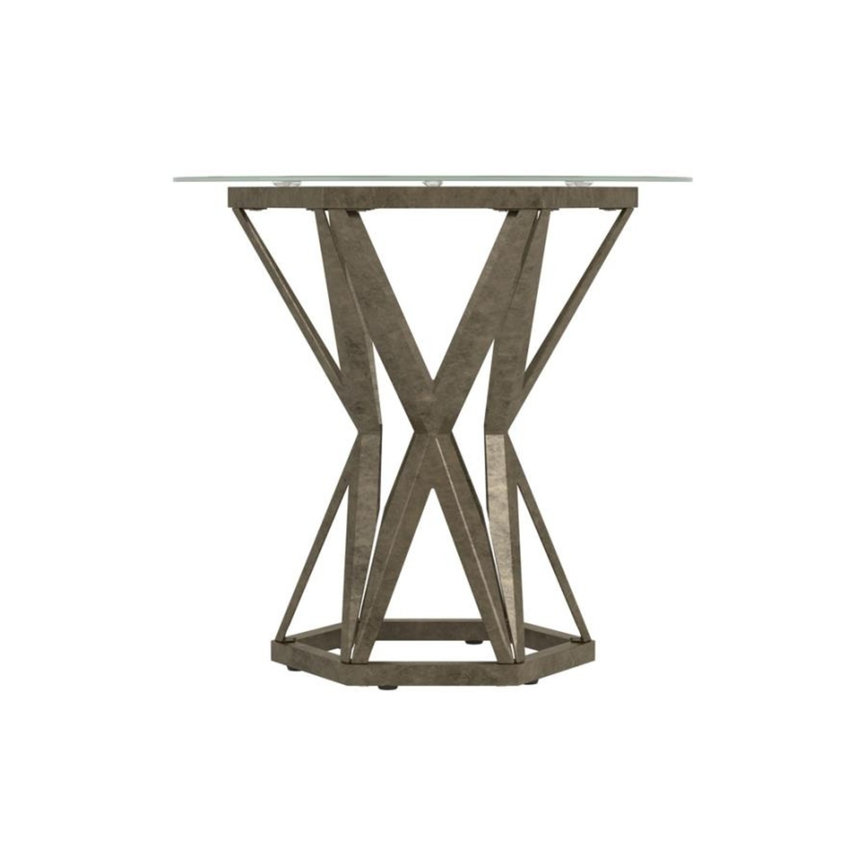 Modern End Table W/ Gold Hexagon Pedestal Base - image-2