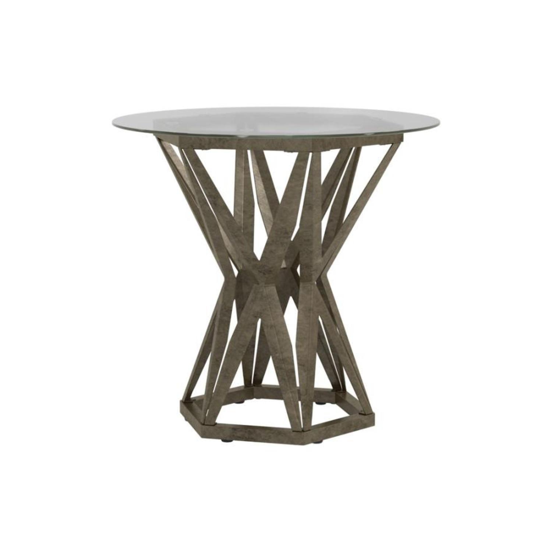 Modern End Table W/ Gold Hexagon Pedestal Base - image-0
