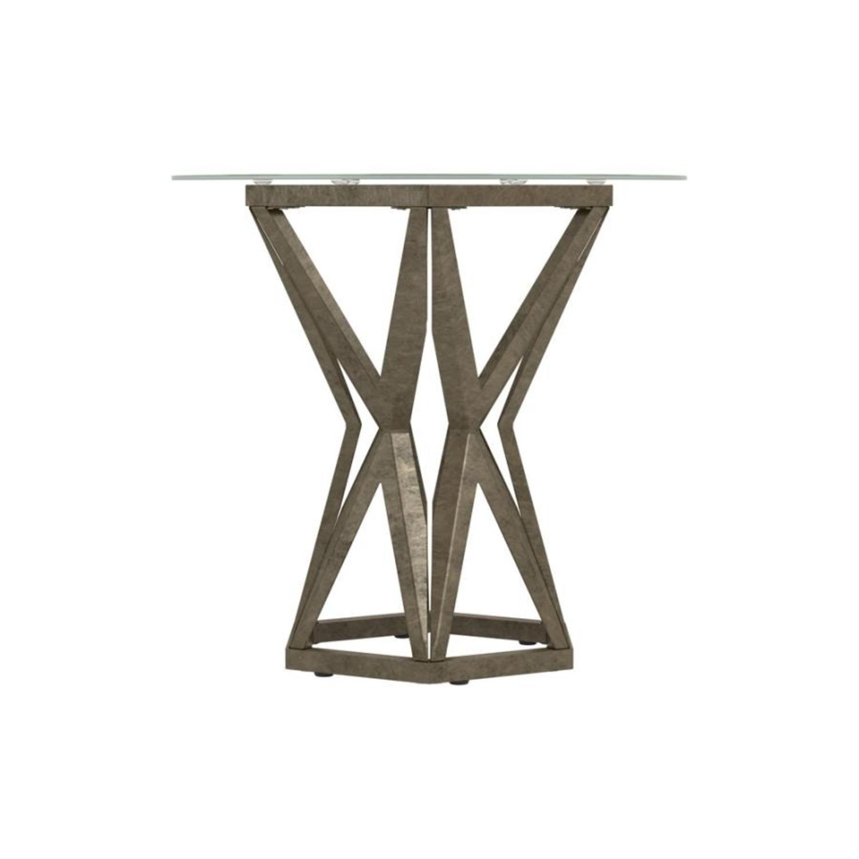 Modern End Table W/ Gold Hexagon Pedestal Base - image-3