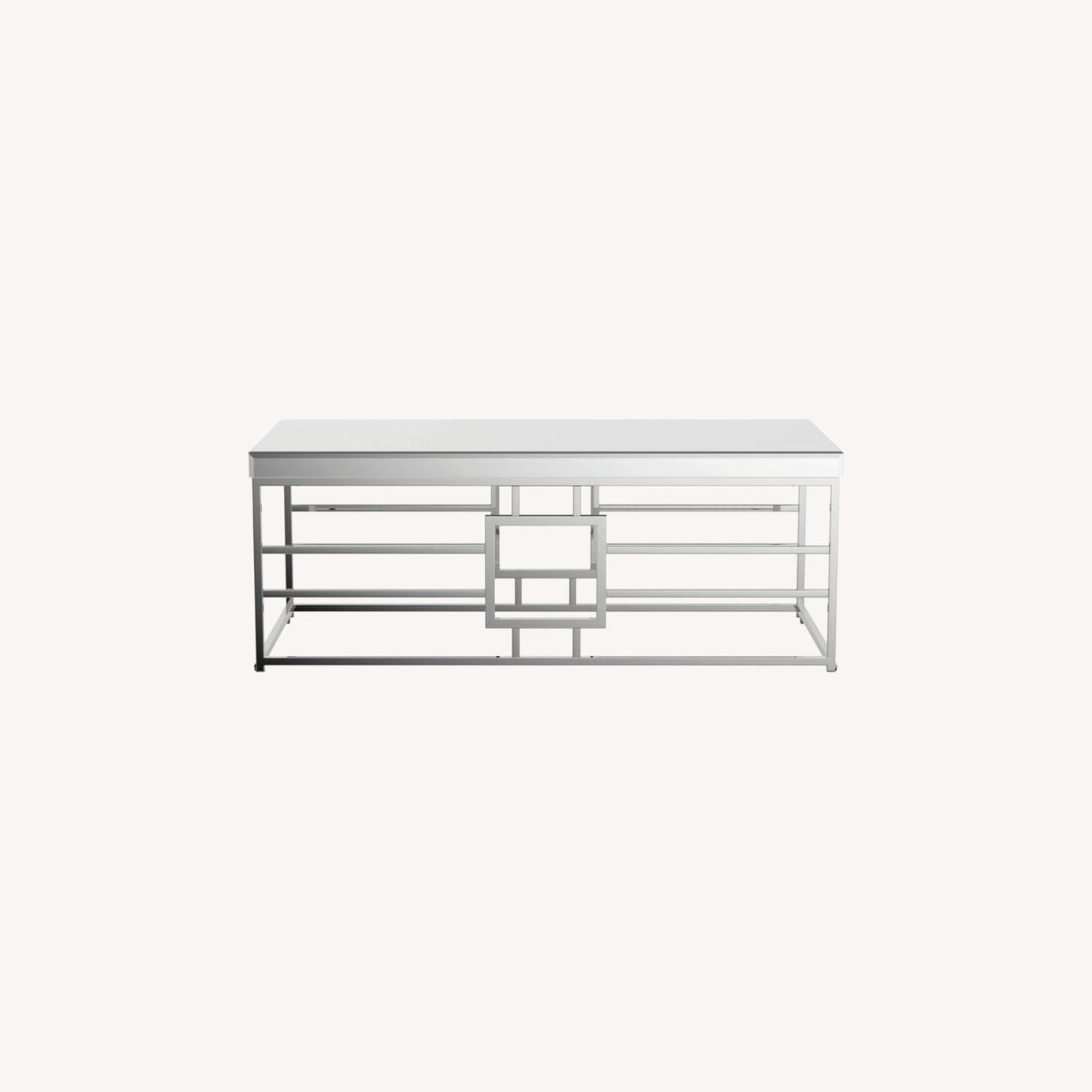 Modern Coffee Table In Chrome Finish Frame - image-5