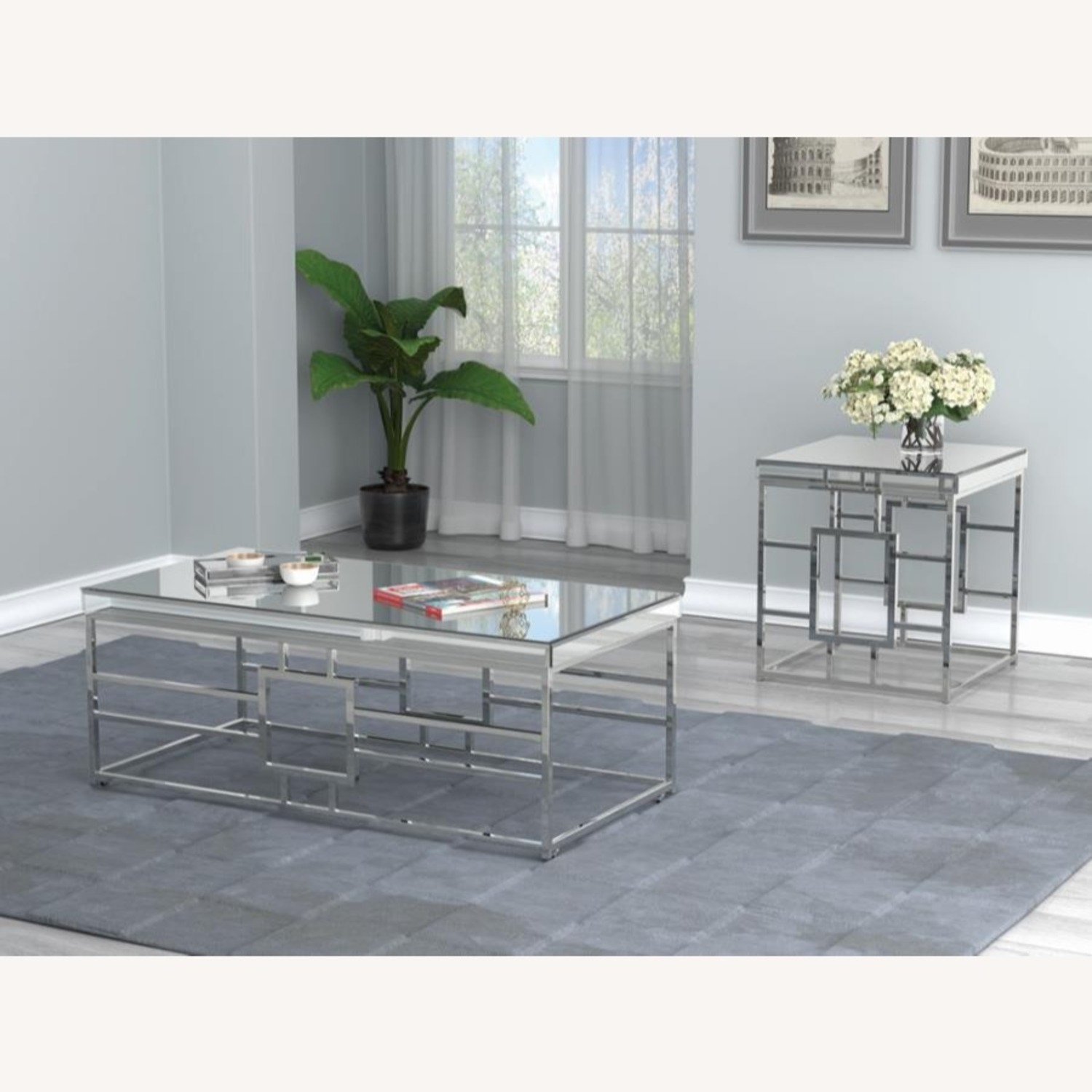 Modern Coffee Table In Chrome Finish Frame - image-4