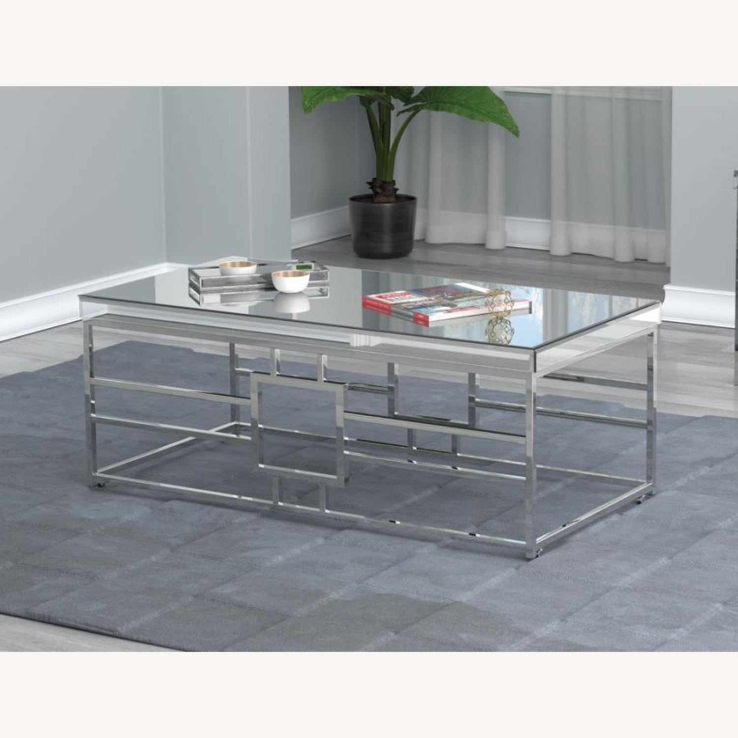 Modern Coffee Table In Chrome Finish Frame - image-3