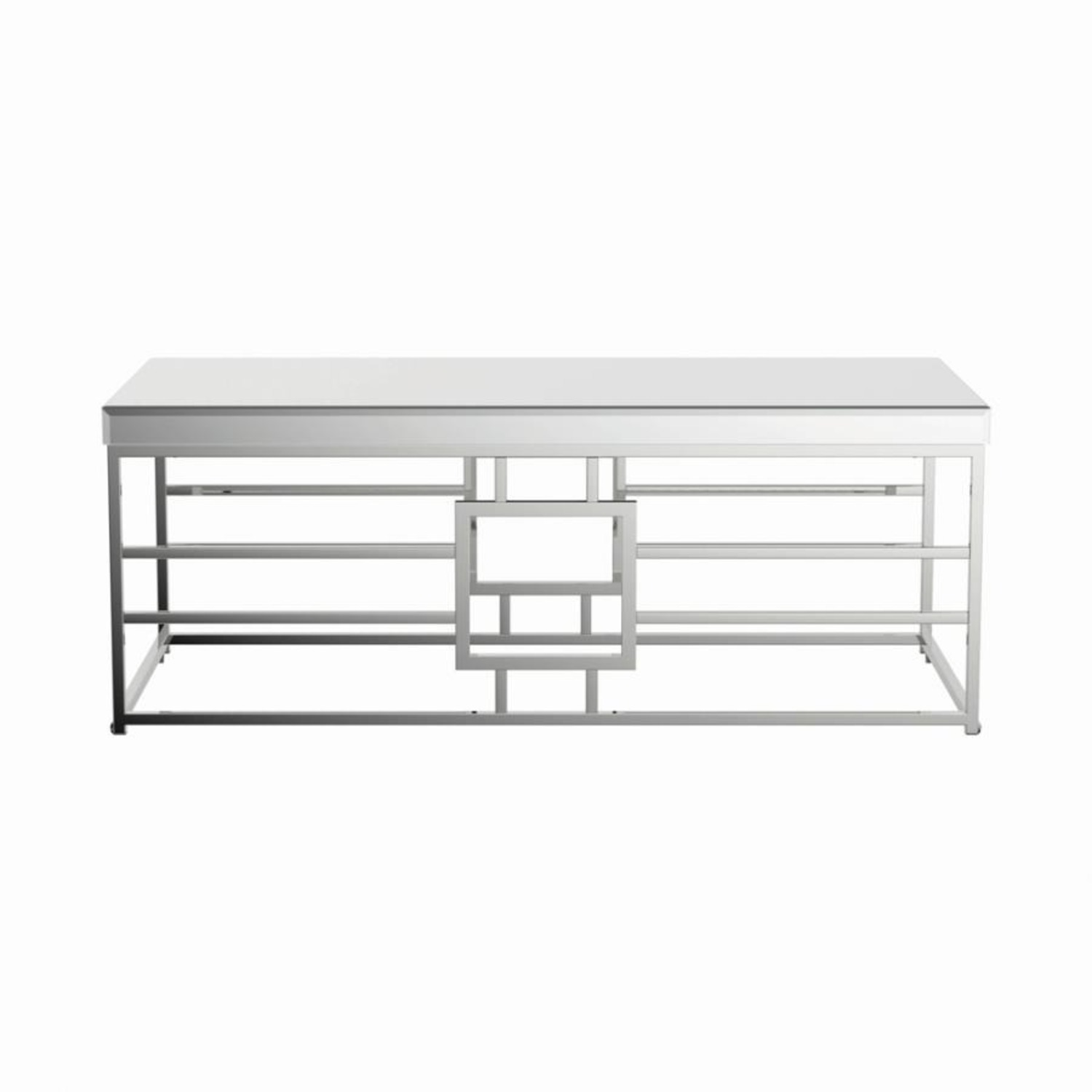 Modern Coffee Table In Chrome Finish Frame - image-1