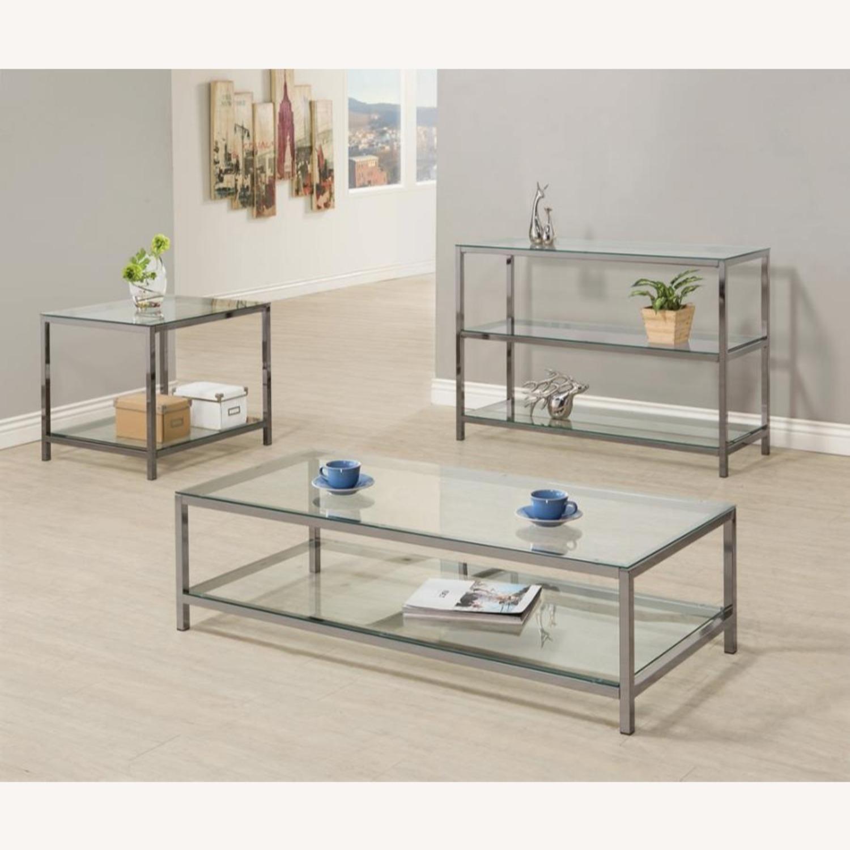 Modern Sofa Table In Black Nickel Finish - image-3