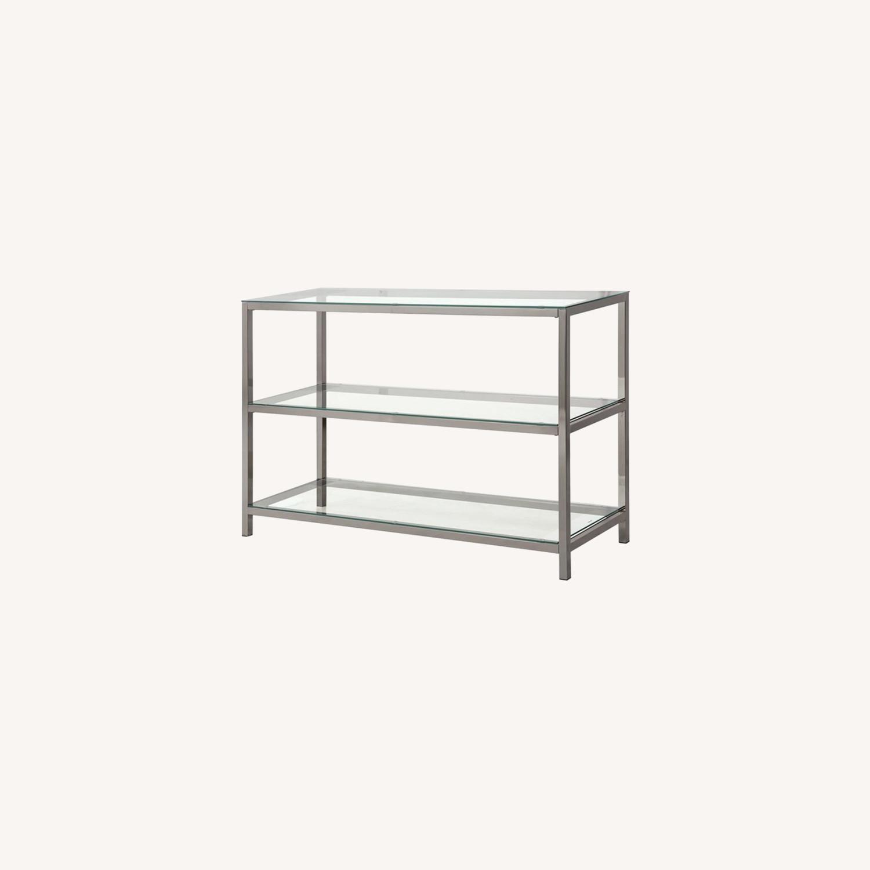 Modern Sofa Table In Black Nickel Finish - image-4
