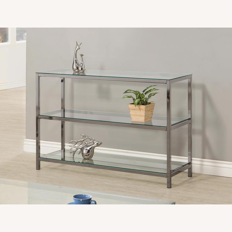 Modern Sofa Table In Black Nickel Finish - image-1