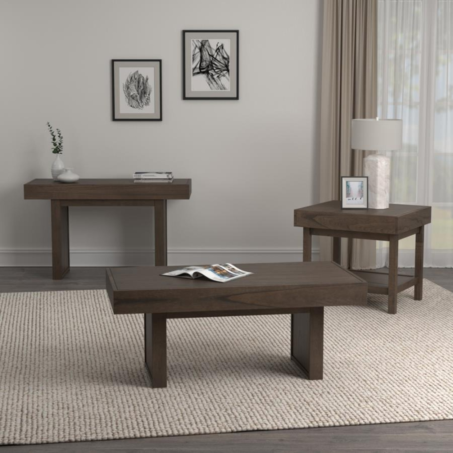 Coffee Table In Wheat Brown Finish - image-6
