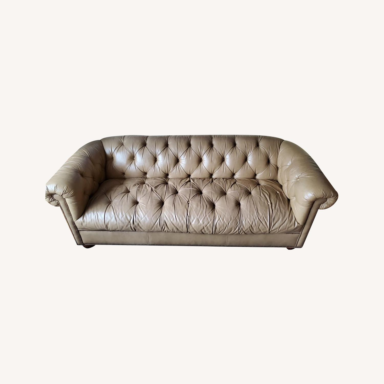 Beige Chesterfield Couch - image-0