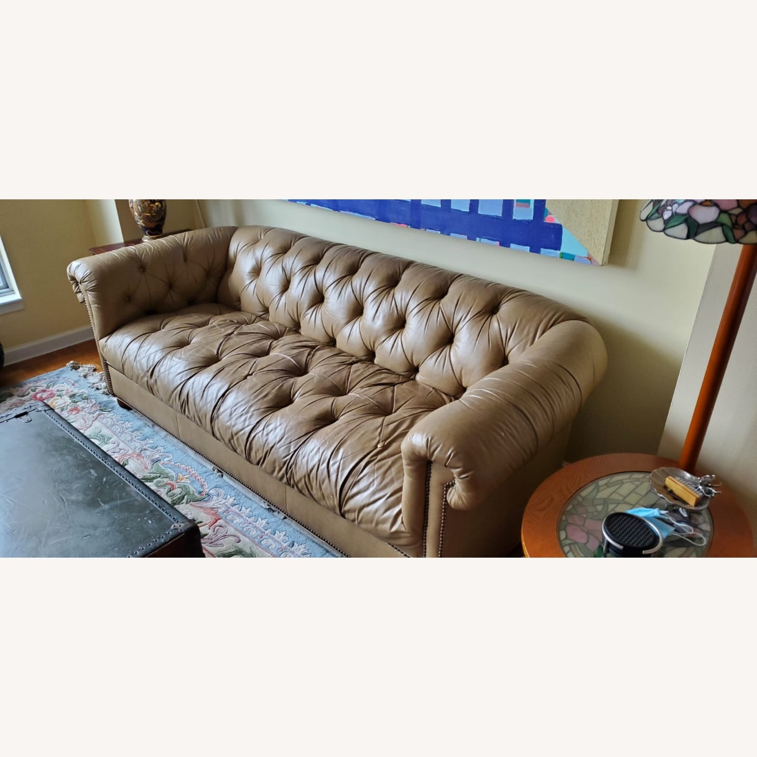 Beige Chesterfield Couch - image-1