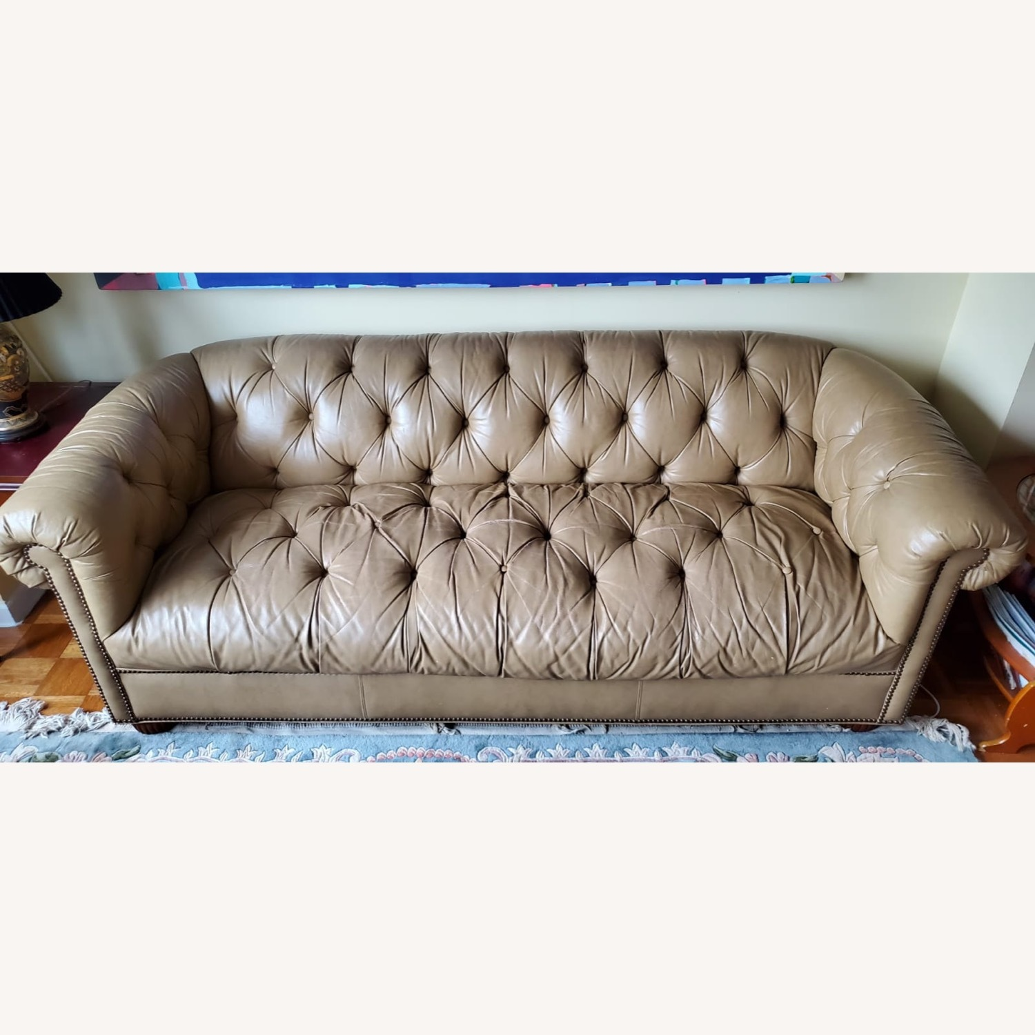 Beige Chesterfield Couch - image-2
