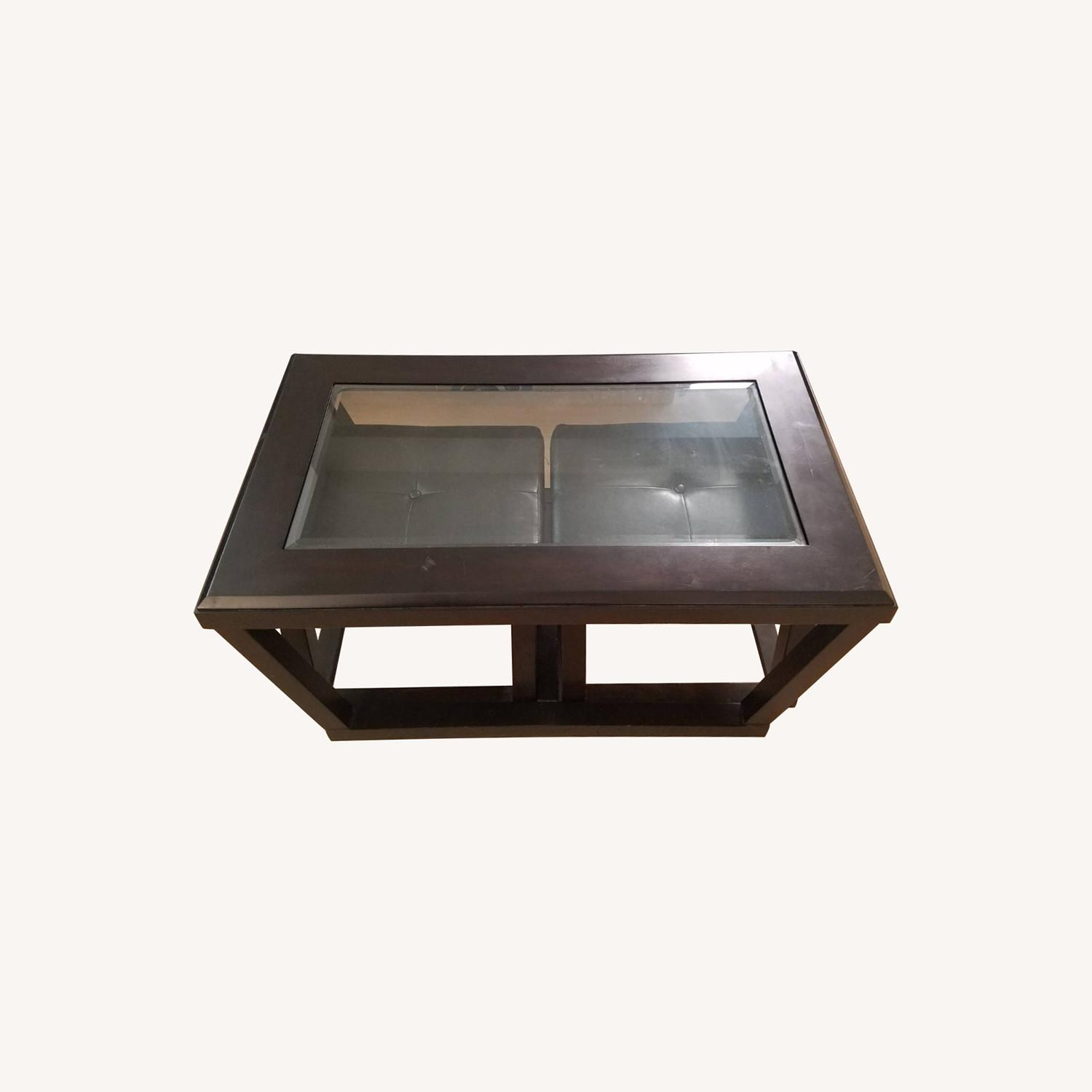 Black Wood and Glass Coffee Table with 2 Ottomans - image-0