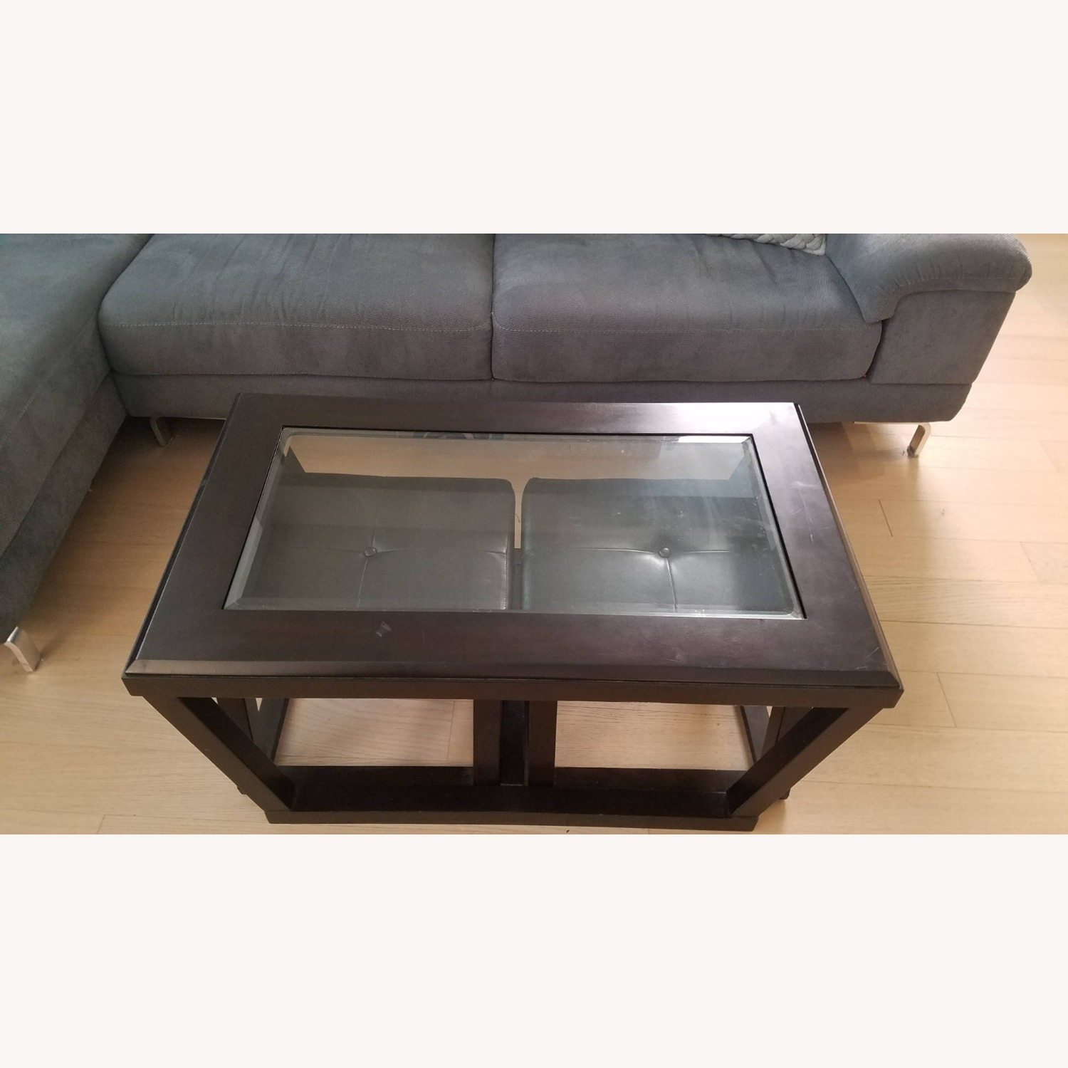 Black Wood and Glass Coffee Table with 2 Ottomans - image-1