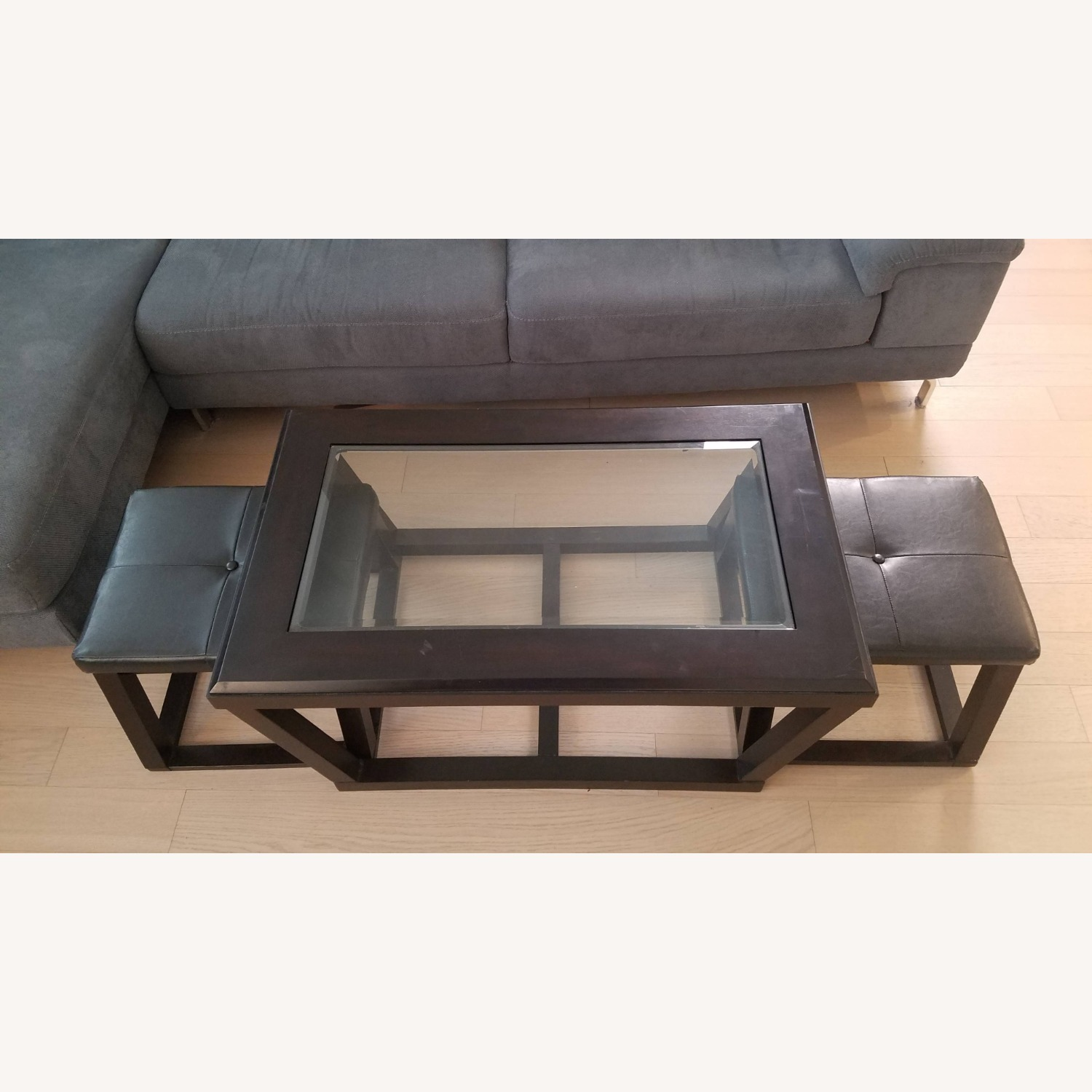 Black Wood and Glass Coffee Table with 2 Ottomans - image-2