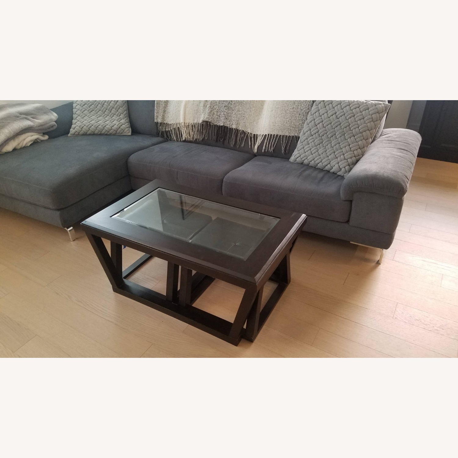 Black Wood and Glass Coffee Table with 2 Ottomans - image-3