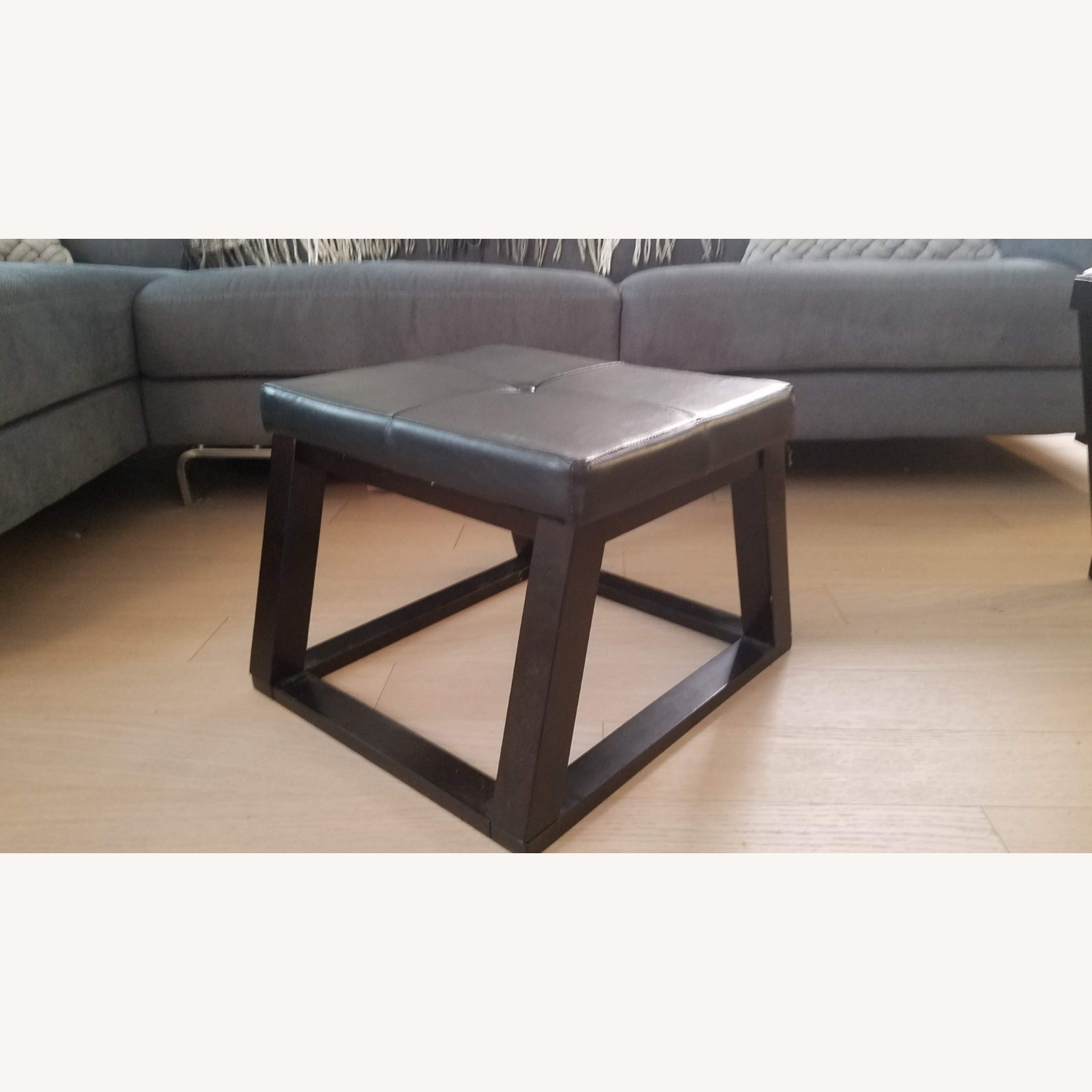 Black Wood and Glass Coffee Table with 2 Ottomans - image-5