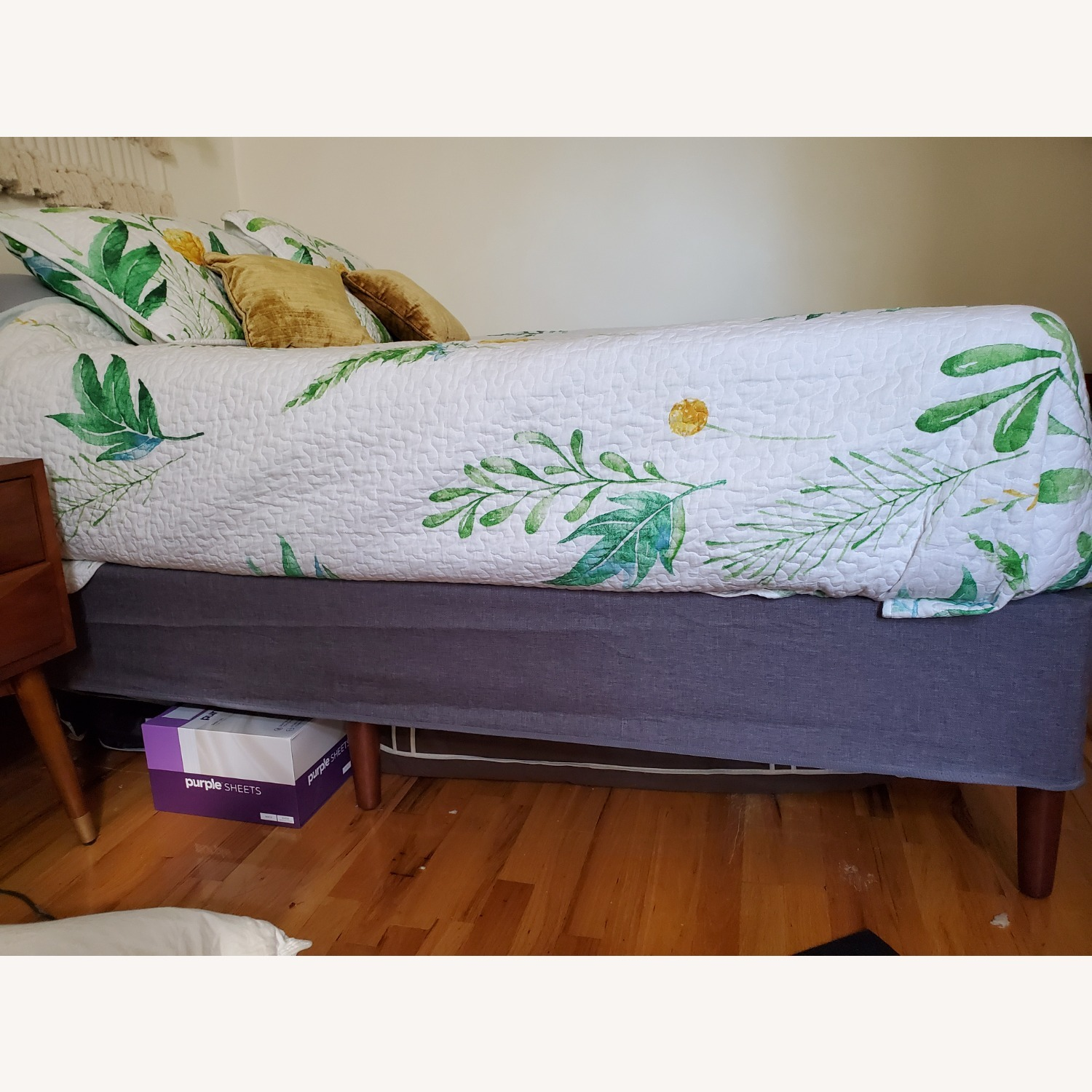 Purple Charcoal Gray Queen Platform Bed Frame - image-5