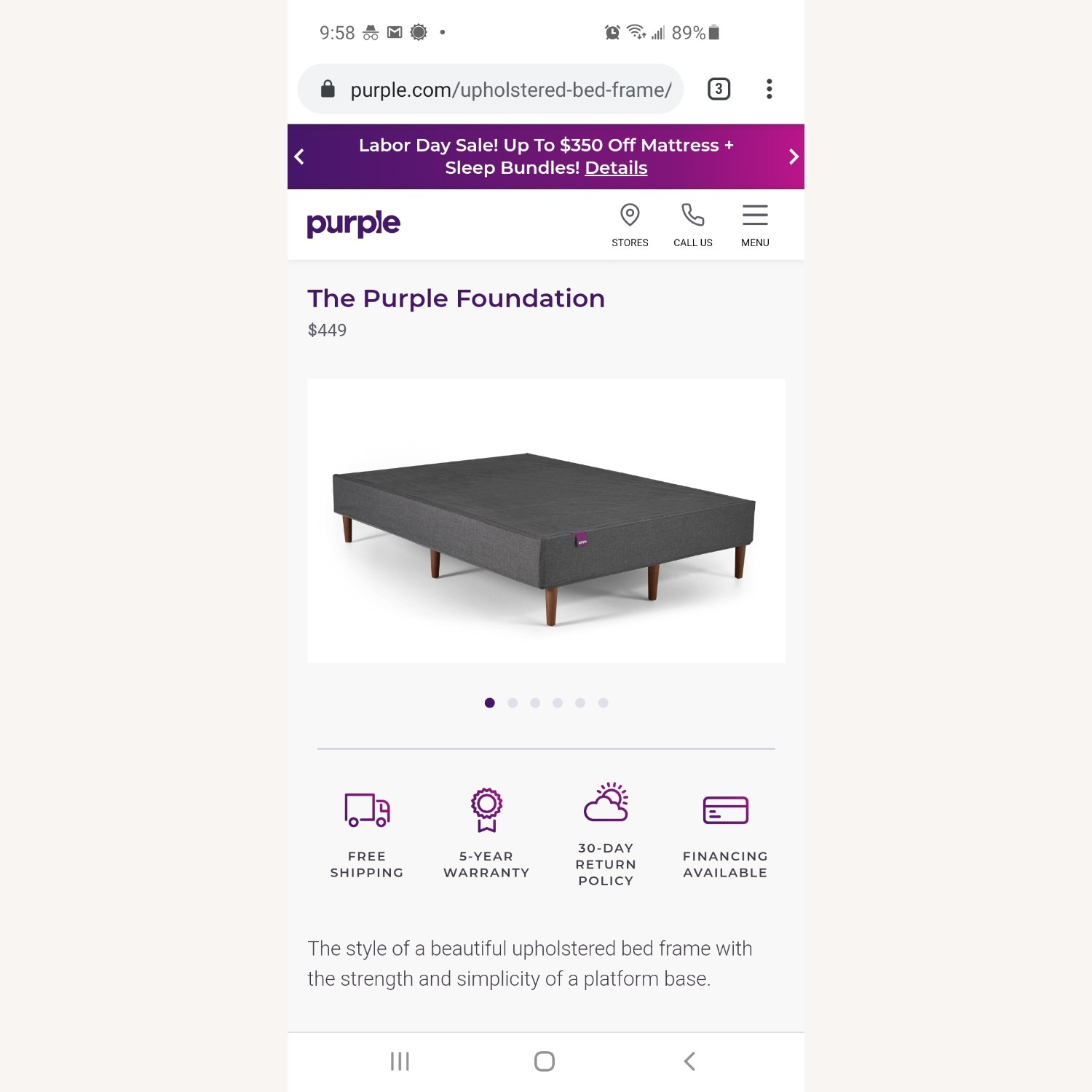Purple Charcoal Gray Queen Platform Bed Frame - image-3