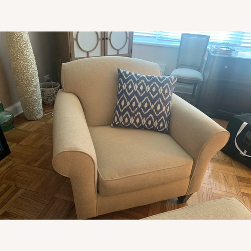 Used Ivory Chenille Chair and Ottoman for sale on AptDeco