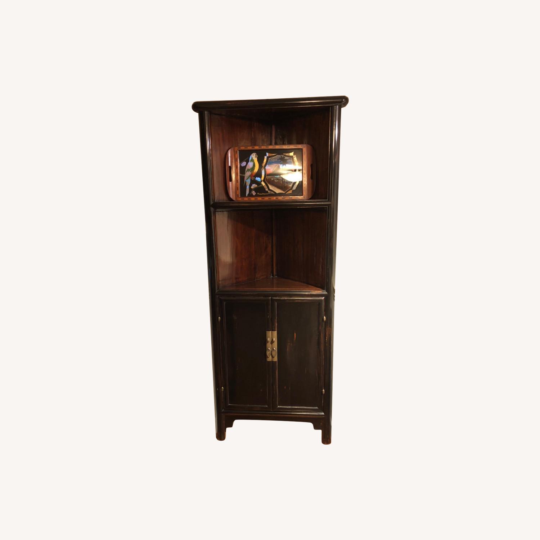 Refurbished Antique Black Corner Cabinets/Shelves - image-0