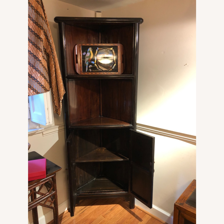 Refurbished Antique Black Corner Cabinets/Shelves - image-3