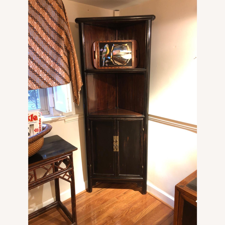 Refurbished Antique Black Corner Cabinets/Shelves - image-2